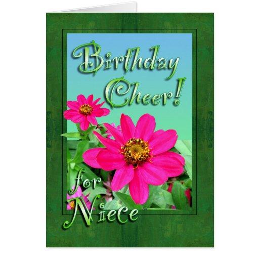 Niece Birthday Cheer Zinnias Card