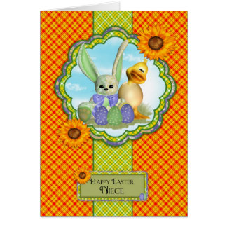 Niece Cute Easter Card With Rabbit And Chick