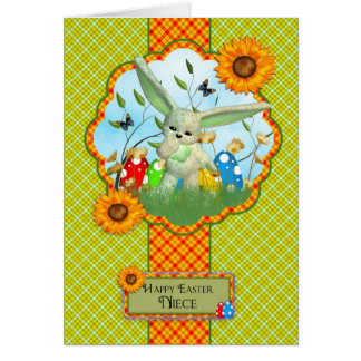 Niece Cute Easter Card With Rabbit And Easter Eggs