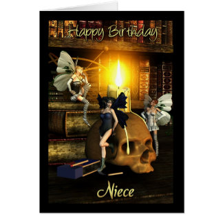 niece, fairy lights - fairy birthday card