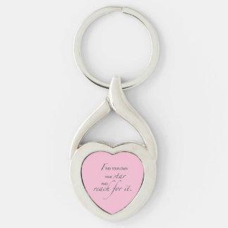 Niece Graduation Star, Custom Gift Silver-Colored Twisted Heart Keychain