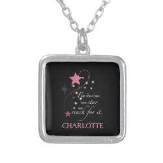 Niece Graduation Star, Custom Gift Silver Plated Necklace