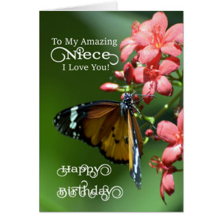 Niece / Happy Birthday - Butterfly Greeting Card