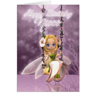 Niece Happy Birthday cute fairy on flower swing, m Card