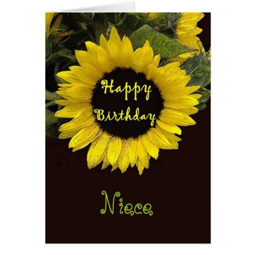 NIECE Happy Birthday with Cheerful Sunflower Greeting Card