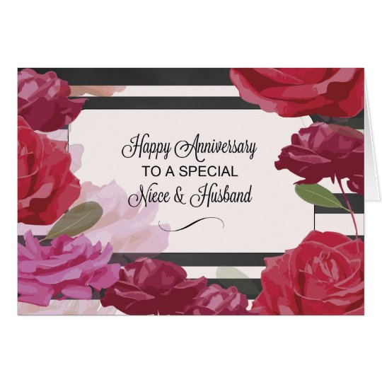 Niece & Husband Wedding Anniversary Rose Card