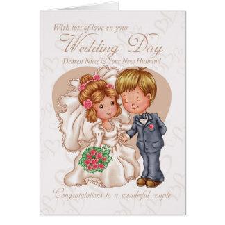 Niece & New Husband Wedding Day Card with love