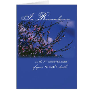 Niece, Remembrance 1st Anniversary Card