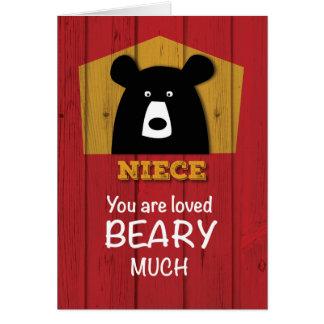 Niece, Valentine Bear Wishes on Red Wood Grain Loo Card