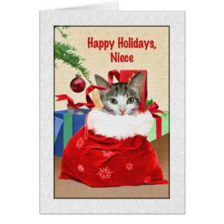 Niece's Christmas, Cat Under Tree Card