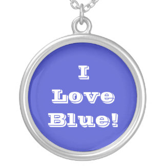 Niecklace I Love Blue Silver Plated Necklace