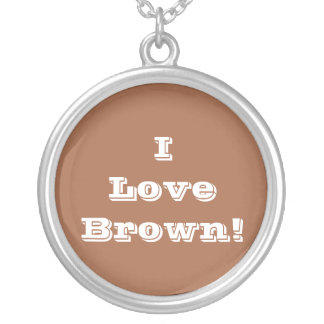 Niecklace I Love Brown Silver Plated Necklace