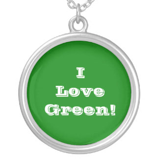 Niecklace I Love Green Silver Plated Necklace