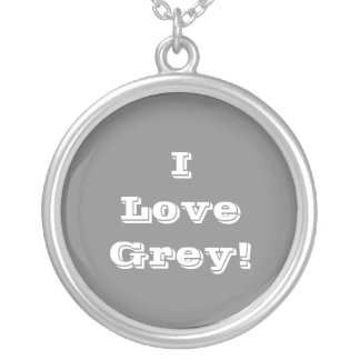 Niecklace I Love Grey Silver Plated Necklace