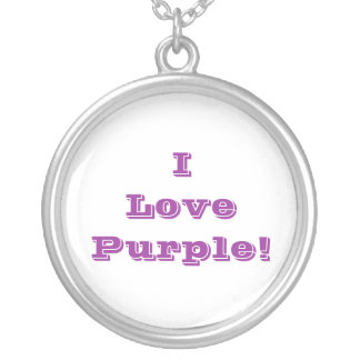 Niecklace I Love Purple Silver Plated Necklace
