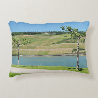 Niederwalddenkmal with coarse home on the Rhine Decorative Pillow