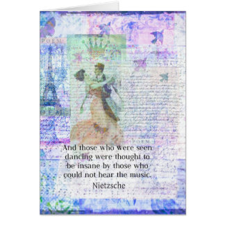Nietzsche dancing and music quote card