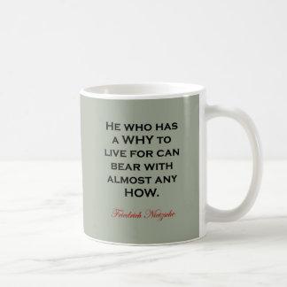 Nietzsche Quote - Bear Any How Coffee Mug