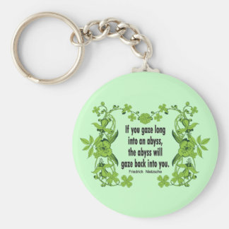 Nietzsche Quote If You Gaze Long into an Abyss Keychain