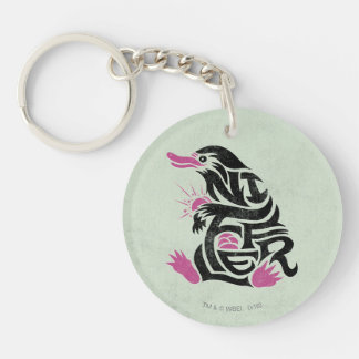 Niffler Typography Graphic Double-Sided Round Acrylic Keychain