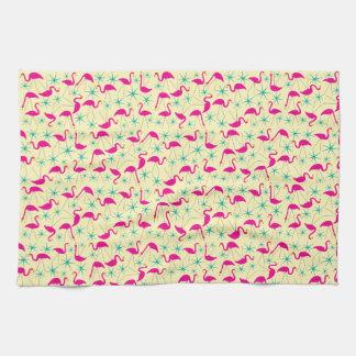 Nifty fifties - pink flamingos and stars tea towel