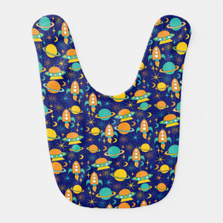 Nifty fifties - space age baby bib dark