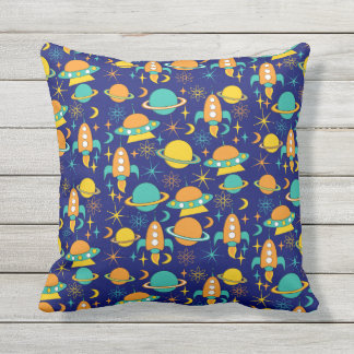 Nifty fifties - space age throw pillow dark