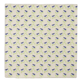 Nifty fifties - two blue birds duvet cover