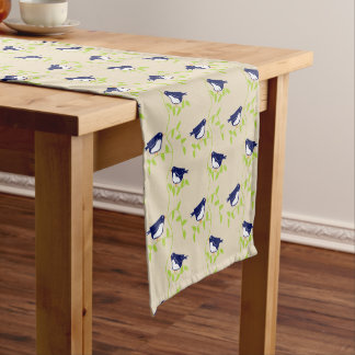 Nifty fifties - two blue birds table runner