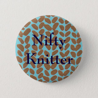 Nifty Knitter Golden Knitting Badge 2 Inch Round Button