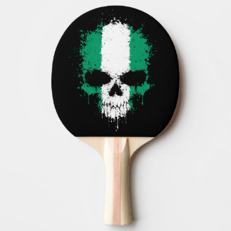 Nigeria Dripping Splatter Skull Ping Pong Paddle