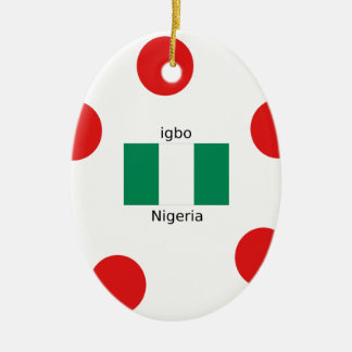 Nigeria Flag And Igbo Language Design Ceramic Ornament