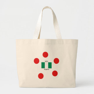 Nigeria Flag And Igbo Language Design Large Tote Bag