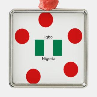 Nigeria Flag And Igbo Language Design Metal Ornament