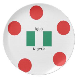 Nigeria Flag And Igbo Language Design Plate