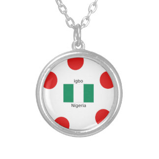 Nigeria Flag And Igbo Language Design Silver Plated Necklace