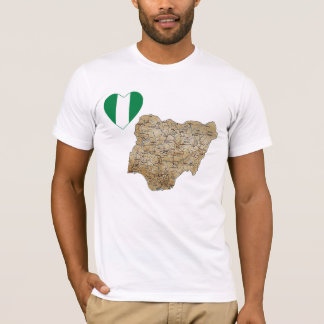 Nigeria Flag Heart and Map T-Shirt