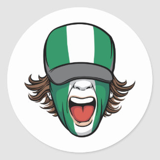 Nigeria sports fan classic round sticker