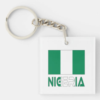 Nigerian Flag and Nigeria Double-Sided Square Acrylic Keychain