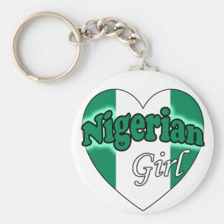 Nigerian Girl Basic Round Button Keychain