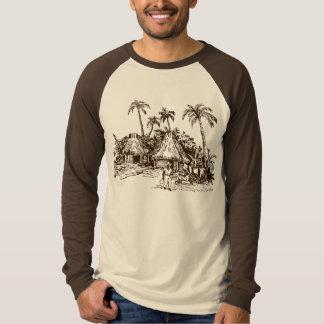Nigerian Village Scene on Long Sleeve Raglan T-Shirt