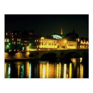 Night along the Seine River at Musee D'Orsay, Fran Postcard