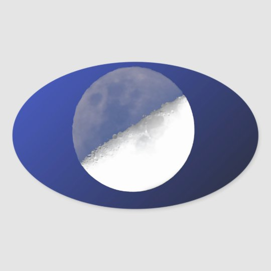 Night and Day Moon Shot Oval Sticker