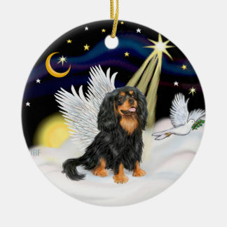 Night Angel - Cavalier King Charles (tri) Round Ceramic Ornament