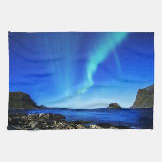 Night Beach Northern Aurora lights Kitchen Towel