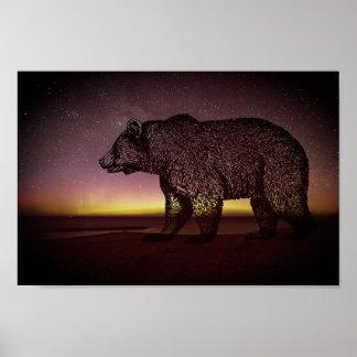 Night Bear And Aurora Borealis Poster