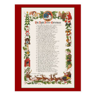 Night Before Christmas Decorated Poem Post Card