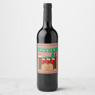 Night Before Christmas • Magic • 3 Stockings Wine Label