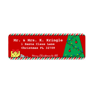 Night Before Christmas Tree Scene with Mouse Return Address Label
