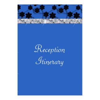 Night Blue & Black Flowers Diamond Shimmer Wedding Large Business Card